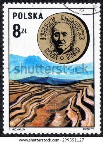 "POLAND - CIRCA 1973: A Stamp printed in Poland shows a series of images ""Portraits of famous explorers"", circa 1973 - stock photo"
