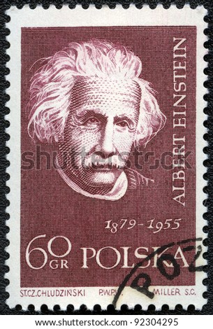 POLAND - CIRCA 1959: A stamp printed in Poland shows Albert Einstein (1879-1955), series, circa 1959 - stock photo