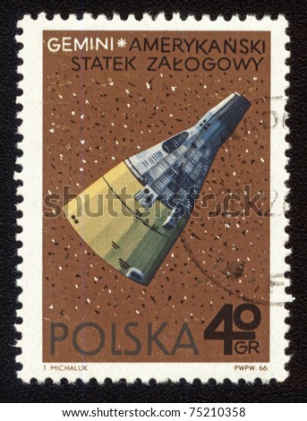 POLAND - CIRCA 1966: A stamp printed in Poland shows american spaceship Gemini, circa 1966 - stock photo