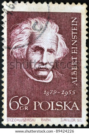 POLAND - CIRCA 1959: A stamp printed in Poland shows an image of Albert Einstein (1879-1955), circa 1959 - stock photo