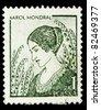 "POLAND - CIRCA 1979: A stamp printed in Poland shows ""Artist's Wife,"" by Karol Mondral, circa 1979 - stock photo"