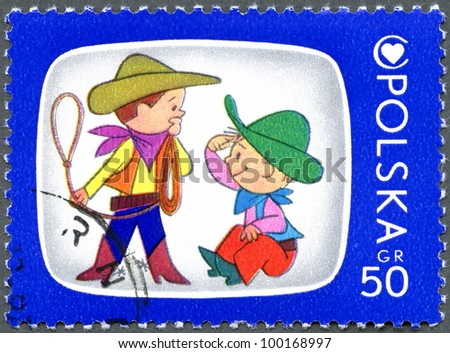 POLAND - CIRCA 1975: A stamp printed in Poland shows Bolek And Lolek, Cartoon Characters and Children's Health Center Emblem, series, circa 1975 - stock photo