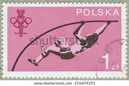 POLAND - CIRCA 1980: A stamp printed in POLAND shows Pole vaulting, from series, circa 1980 - stock photo