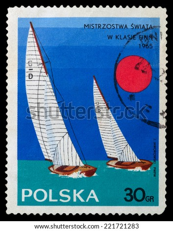 """POLAND - CIRCA 1965: A stamp printed in Poland shows Yacht with the inscription and name of the series """"Championships in the Finn class, 1965"""", circa 1965 - stock photo"""