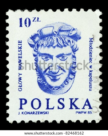 POLAND - CIRCA 1985: A stamp printed in the Poland, shows a male head of the embassy of the hall of the castle Wawel in Krakow, circa 1985 - stock photo