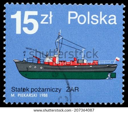 POLAND - CIRCA 1988: a stamp printed in the Poland shows ZAR, Fire Boat, circa 1988 - stock photo