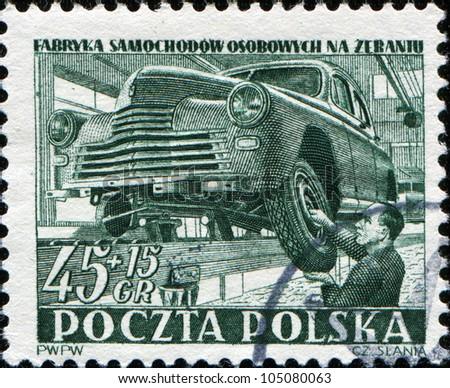 POLAND - CIRCA 1950: A stamps printed in Poland, shows car manufacture,  circa 1950 - stock photo