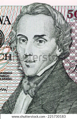 POLAND - CIRCA 1988: Frederic Chopin on 5000 Zlotych 1988 Banknote from Poland. Polish composer and virtuoso pianist. - stock photo