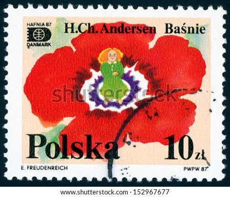 POLAND - CIRCA 1987: post stamp printed in Poland (Polska) shows image of little mermaid from fairy tales by Hans Christian Andersen (HAFNIA), Scott catalog 2832 A899 10z red, circa 1987 - stock photo