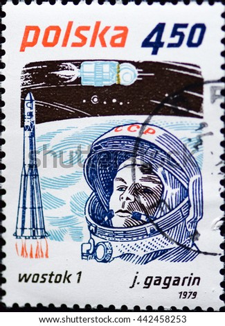 POLAND - CIRCA 1979: stamp printed by Poland, shows he world's first cosmonaut Yuri Gagarin from USSR and Vostok, Space Achievements, circa 1979 - stock photo