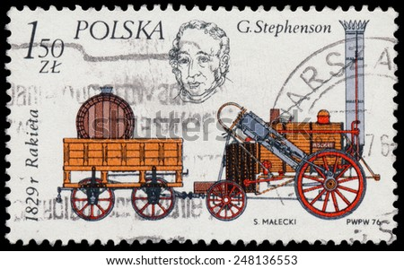 POLAND - CIRCA 1976: Stamp printed in Poland shows locomotive by Stephenson, 1829, circa 1976 - stock photo