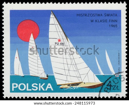 """POLAND - CIRCA 1965: Stamp printed in Poland shows Yacht with the inscription and name of the series """"Championships in the Finn class, 1965"""", circa 1965 - stock photo"""