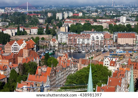 Poland, city of Gdansk, Old Town, cityscape and marina from above - stock photo