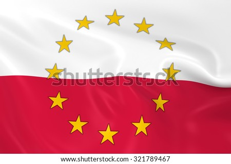 Poland EU Member Concept Image - 3D render of a waving Polish Flag with European Union Stars - stock photo