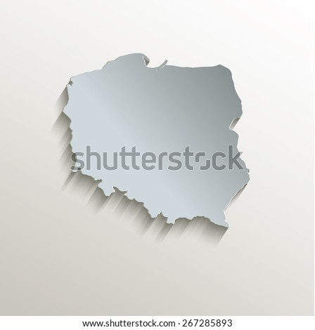 Poland map white blue card paper 3D raster - stock photo