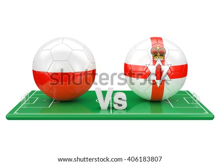 Poland / Northern Ireland soccer game over soccer field 3d illustration - stock photo