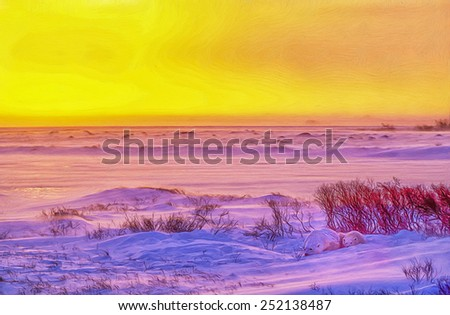 Polar bear and cub,arctic sunset, digital oil painting - stock photo