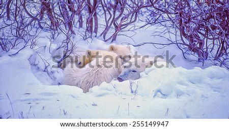 Polar bear and cubs sleeping,digital oil painting - stock photo