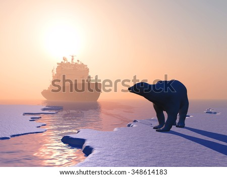 Polar bear and icebreaker in the north. - stock photo