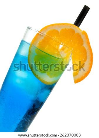 Polar Bear cocktail made from 1 shot vodka,1 shot blue curacao,Sprite/7up - stock photo