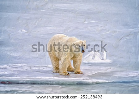 Polar bear in Canadian Arctic, digital oil painting - stock photo