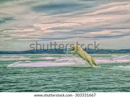 Polar bear jumping between ice floes in Canadian Arctic,photo art - stock photo