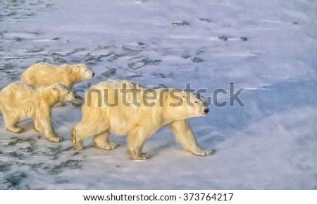 Polar bear with cubs on Arctic tundra.Digital oil painting - stock photo