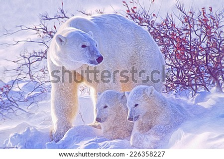 Polar bear with her cubs, blowing snow in Canadian Arctic - stock photo