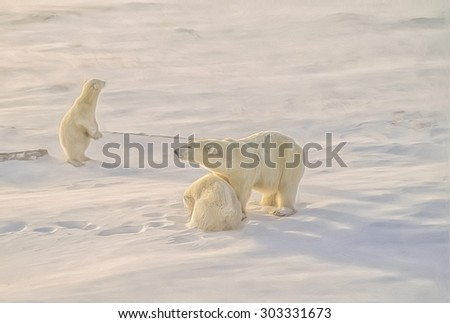Polar bear with her cubs in Canadian Arctic winter,photo art - stock photo