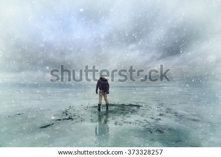 polar traveler, pilot - stock photo