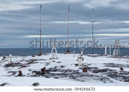 Polar weather station on the shore of the Barents sea, Kola Peninsula, Russia - stock photo