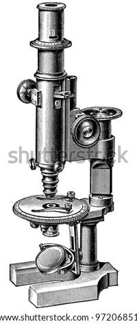 polarizing microscope - an illustration of the encyclopedia publishers Education, St. Petersburg, Russian Empire, 1896 - stock photo
