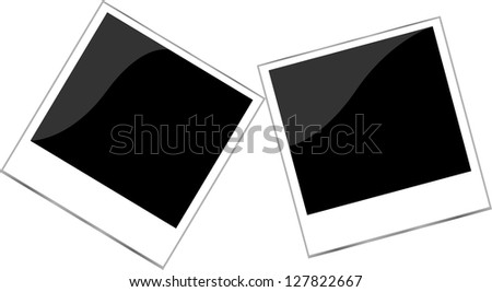 Polaroid photo frame set isolated on white, raster - stock photo