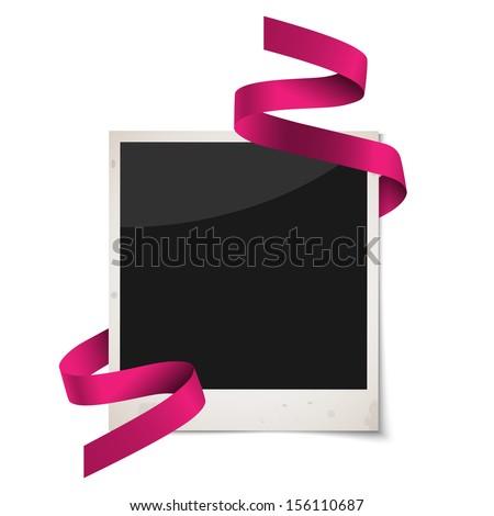 Polaroid photo frame with red ribbon.Raster version - stock photo