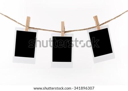 Polaroid Photo Frames on Rope. Illustration on white background - stock photo