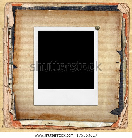 polaroid photo frames on torn grunge papers - stock photo
