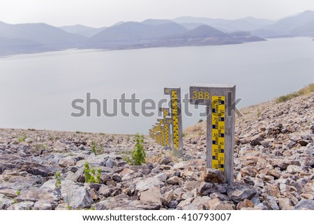 Pole Dam water level measurement and soft focus - stock photo