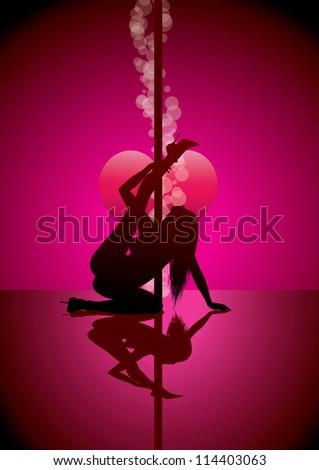 pole dancer (also available vector version) - stock photo