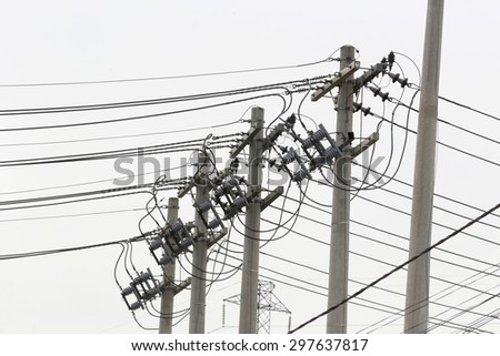 pole of distribution of electric energy with white background, sao paulo, brazil  - stock photo