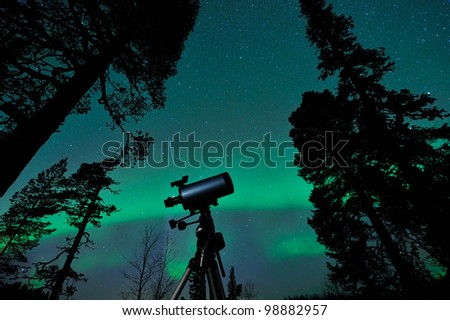 Pole Star, Big Dipper, falling star and aurora borealis same time on the sky. - stock photo