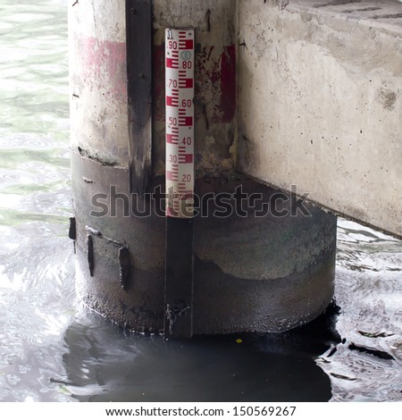 Poles measure the water level - stock photo