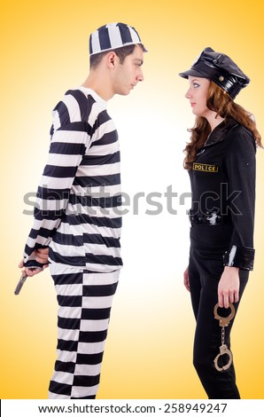 Police and prison inmate  - stock photo