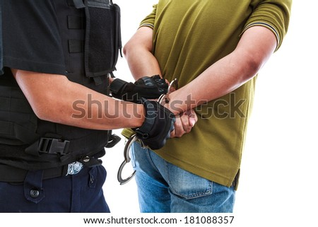 Police are crashed and arrest the offender law - stock photo