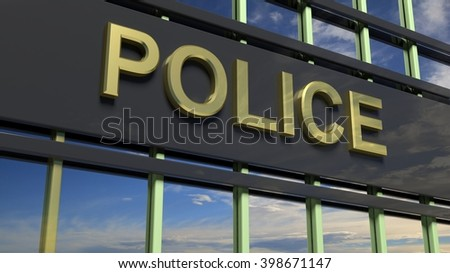 Police building sign closeup, with sky reflecting in the glass.3D Rendering  - stock photo