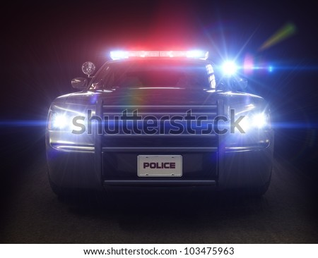 Police car cruiser ,with full array of lights and tactical lights. Part of a first responder series. - stock photo
