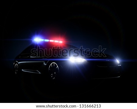 Police car full array of tactical lights. - stock photo