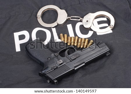 police concept with handcuffs - stock photo