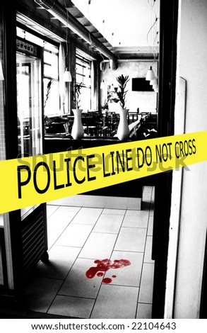 police crime scene with yellow boundary tape - stock photo