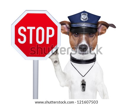police dog with a street stop sign - stock photo