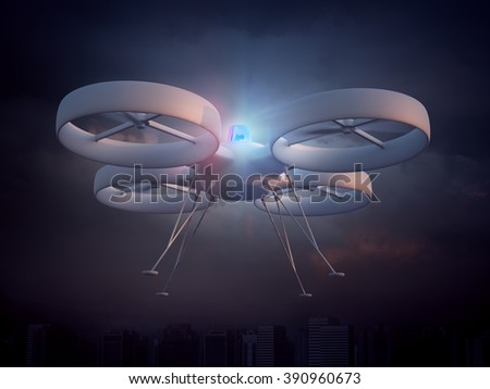 Police drone - unmanned aerial vehicle law enforcement - stock photo